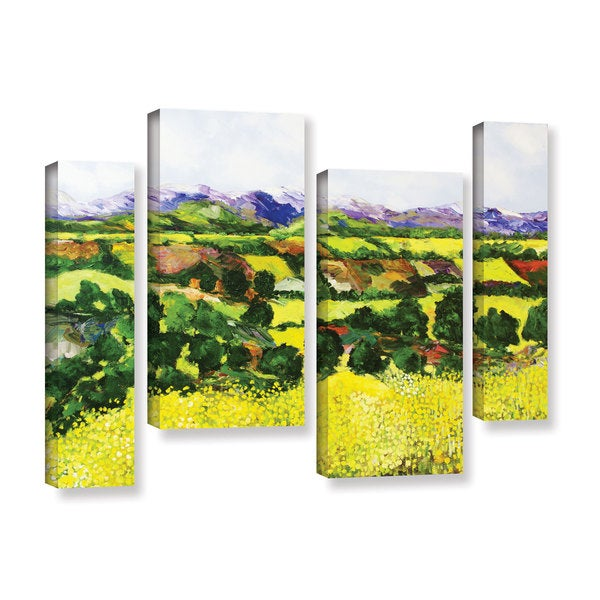 ArtWall Allan Friedlander 'Yellow Weeds' 4 Piece Gallery-wrapped Canvas Staggered Set