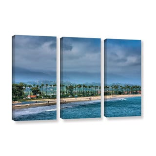 ArtWall Steve Ainsworth 'The Beach At Santa Barbara' 3 Piece Gallery-wrapped Canvas Set