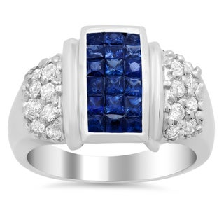 Artistry Collections 14k White Gold 1/2ct TDW Diamond and Sapphire Ring (F-G, VS1-VS2)