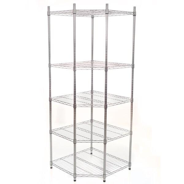 Commercial 5-Tier Chrome Heavy Duty Corner Shelving Rack, 72-inch by Lavish Home