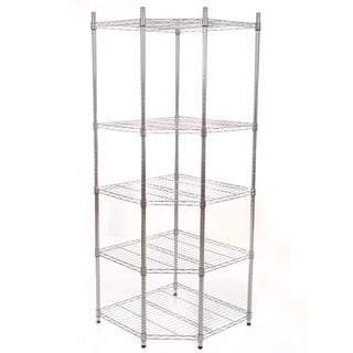 Commercial 5-Tier Chrome Heavy Duty Corner Shelving Rack, 72-inch by Lavish Home