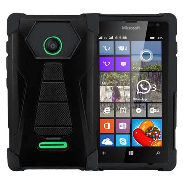 Insten Hard PC/ Silicone Dual Layer Hybrid Phone Case Cover with Stand For Microsoft Lumia 435