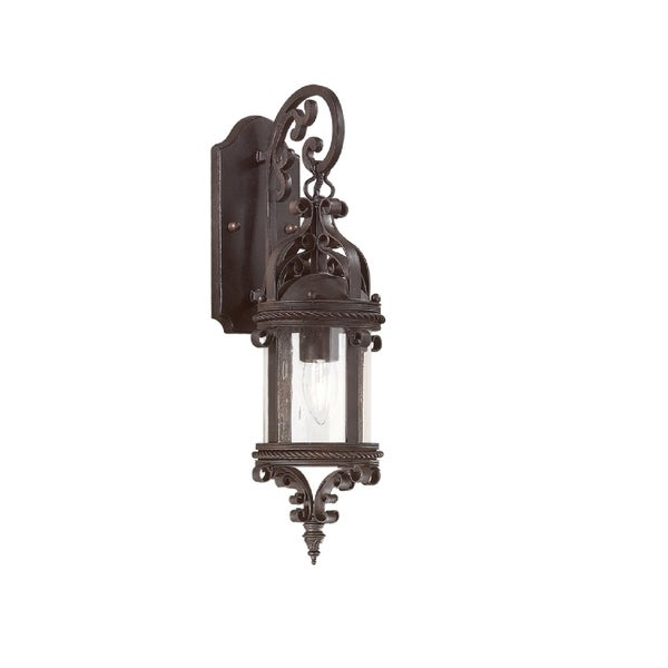 Troy Lighting Pamplona 1-light Medium Wall Lantern, Clear Seeded
