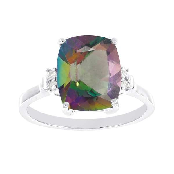 H Star 10k White Gold Mystic Fire Topaz Diamond Acccent Ring 15997901