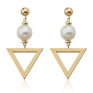 PearlAura Vanguard 14k Gold Freshwater Pearl Dangling Triangle Earrings (9-10mm)