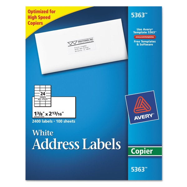 Avery White 1 3/8 x 2 13/16 Copier Mailing Labels (Box of 2400)