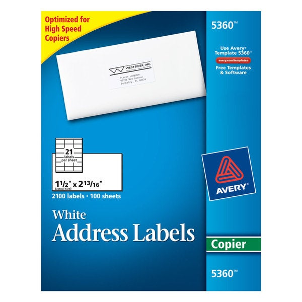 Avery White 1 1/2 x 2 13/16 Copier Mailing Labels (Box of 2100)