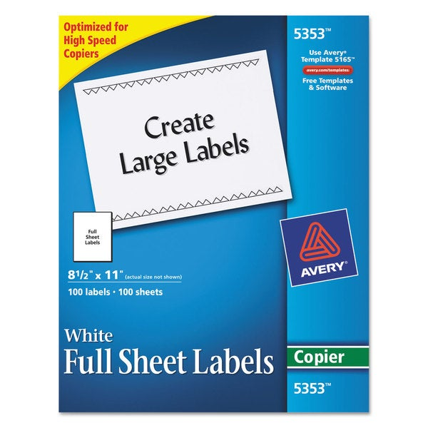 Avery White 8 1/2 x 11 Copier Mailing Labels (Box of 100)