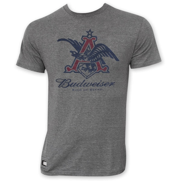 Budweiser Men's Grey Pop Top Vintage Eagle Logo T-Shirt