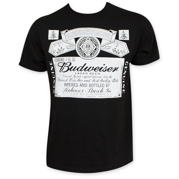 Budweiser Men's Black Beer Logo T-Shirt