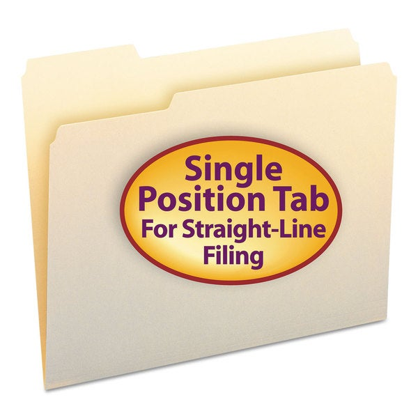 Smead 1/3 Cut First Position One-Ply Top Tab Letter Manila File Folders (Box of 100)