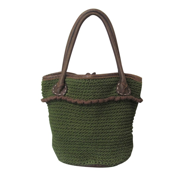 Amerileather Moss-Green Caspar Tote Bag (3307-6)