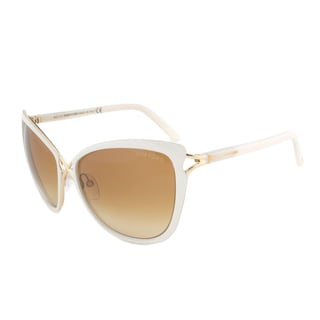 Tom Ford TF322 32F Celia Ivory and Gold Oversized Cateye Sunglasses