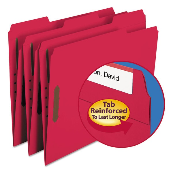 Smead Red Two Fasteners 1/3 Cut Assorted Top Tab Letter Folders (Box of 60)