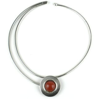 In the Round Silverplated Jasper Necklace (South Africa)