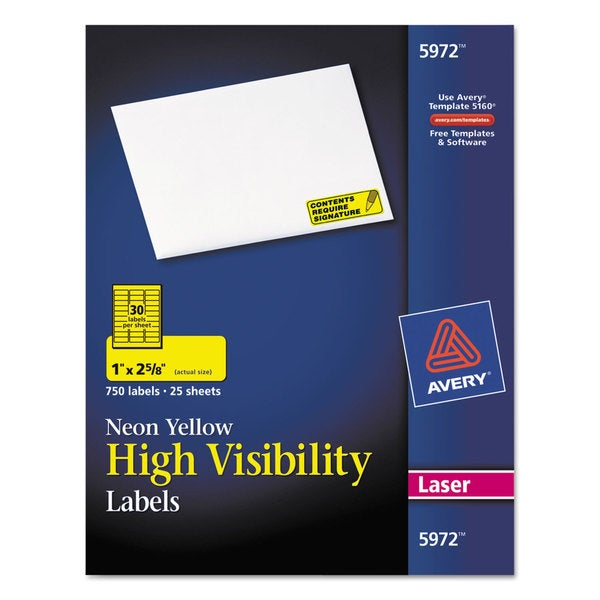 Avery Neon Yellow High Visibility Rectangle Laser Labels (Pack of 750)