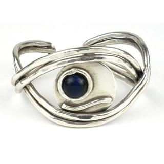 Blue Tiger Eye Worldy Silverplated Cuff (South Africa)