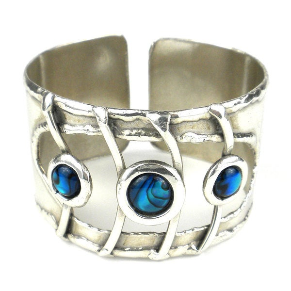 Ripple Effect Paua Shell Silverplated Cuff (South Africa)