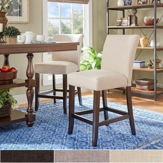 TRIBECCA HOME Parson Classic Linen Counter Height Chairs (Set of 2)