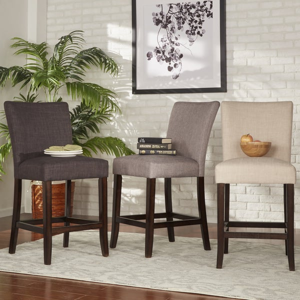 Tribecca Home Parson Classic Linen Counter Height Chairs