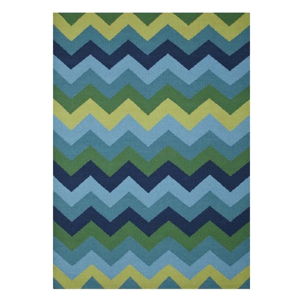 Flatweave Casual Jelly Bean/Navy Blue Wool (5x8) Area Rug