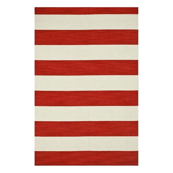 Flatweave Casual Mars Red/White Ice Wool (5x8) Area Rug