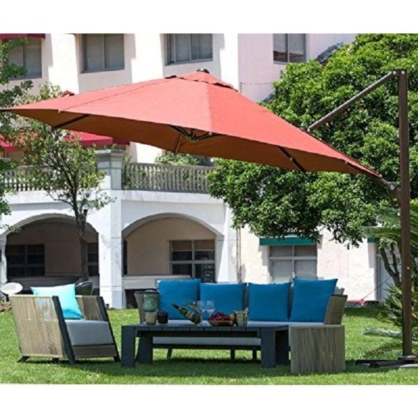 Abba Patio 11-foot Octagon Cantilever Vented Tilt and Crank Lift Patio Umbrella with Cross Base