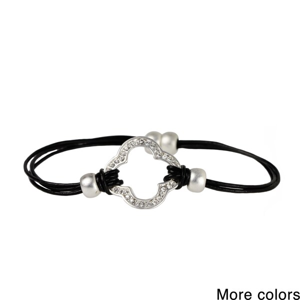 Saachi Multi Strand Leather Clover Charm Magnetic Bracelet (China)
