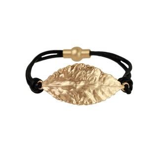 Saachi Multi Strand Leaf Charm Magnetic Leather Bracelet (China)
