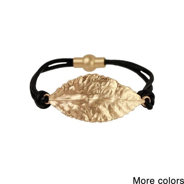 Saachi Multi Strand Leaf Charm Magnetic Leather Bracelet (China)