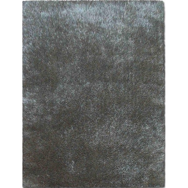 Hand-Woven Shag Teal/Teal Polyester (5x7.6) Area Rug