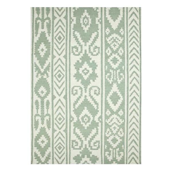 Flatweave Casual White/Aqua Foam Wool (5x8) Area Rug