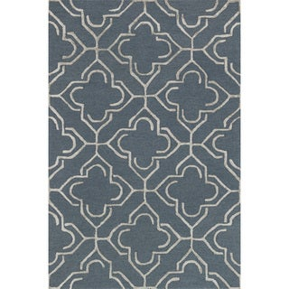 Hand-hooked Carolyn Slate/ Taupe Rug (7'6 x 9'6)
