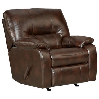 Canyon Polished Microfiber Rocker Recliner Chair, Brown