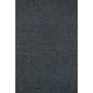 Hand-hooked Carolyn Charcoal/ Black Rug (7'6 x 9'6)