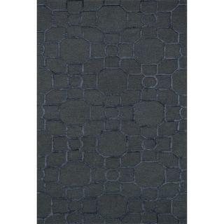 Hand-hooked Carolyn Charcoal/ Black Rug (9'3 x 13')