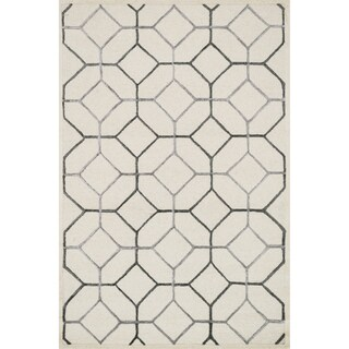 Hand-hooked Carolyn Ivory/ Grey Rug (3'6 x 5'6)
