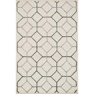 Hand-hooked Carolyn Ivory/ Grey Rug (7'6 x 9'6)