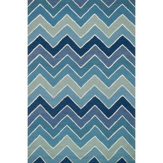 Hand-hooked Carolyn Blue/ Multi Chevron Rug (9'3 x 13')