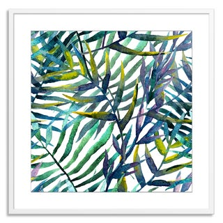 Gallery Direct FTOLIA 'leaves abstract pattern background wallpaper watercolor' Paper Framed