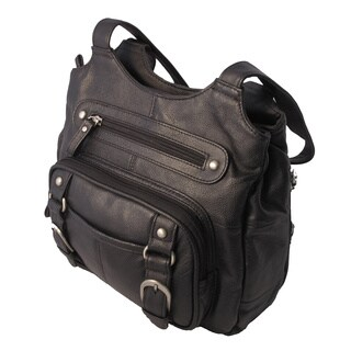 Genuine Leather Ambidextrous Concealed Carry Shoulder Bag with Key Locked Concealment Pocket for Added Security