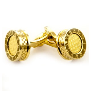 James Calvolini Gold over Stainless Steel Roman Numeral Cuff Links