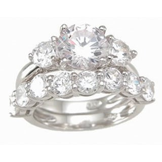 Sterling Silver Cubic Zirconia 3-stone Classic Wedding Ring Set