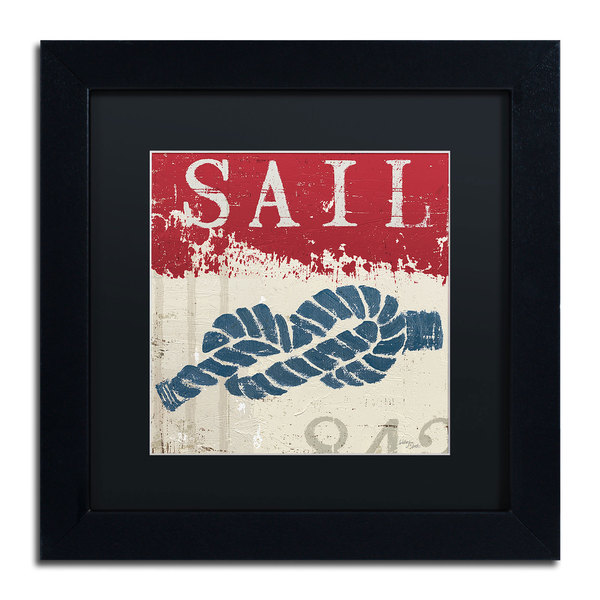 Wellington Studio 'Nautical III Red' Black Matte, Black Framed Wall Art