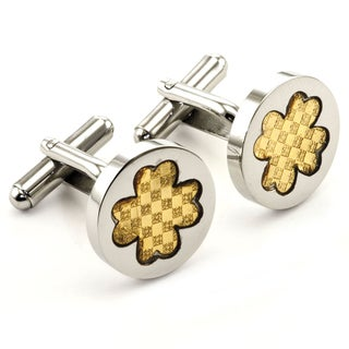 James Cavolini Stainless Steel and IP Gold Clover Cuff Links