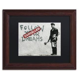 Banksy 'Cancelled Dreams' Black Matte, Wood Framed Wall Art