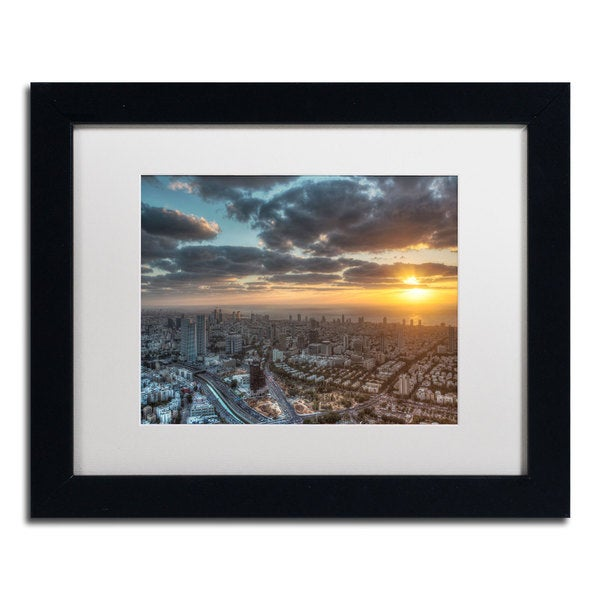 David Ayash 'Tel Aviv - Israel-II' White Matte, Black Framed Wall Art