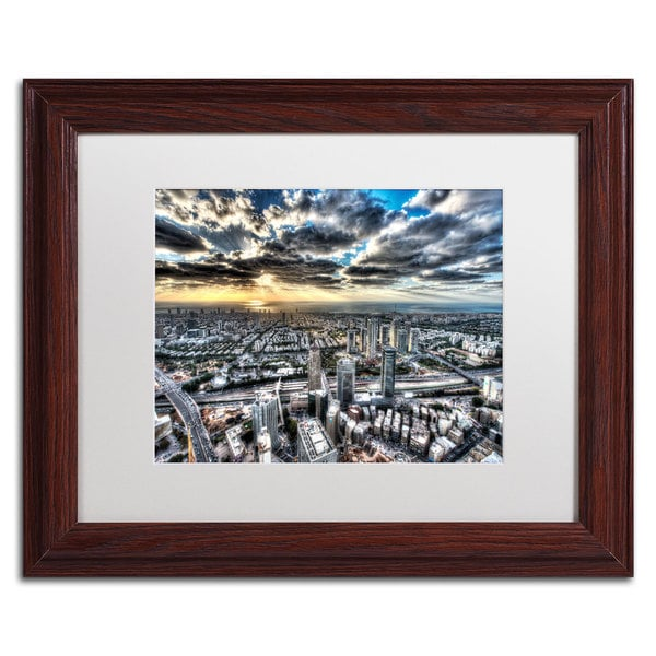 David Ayash 'Tel Aviv - Israel-I' White Matte, Wood Framed Wall Art