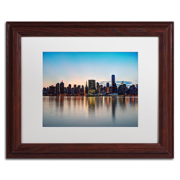 David Ayash 'Midtown NYC Over the East River-I' White Matte, Wood Frame
