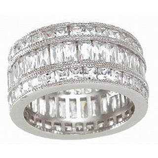 Sterling Silver Cubic Zirconia Triple Eternity Ring